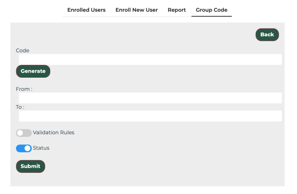 A screenshot showing the group code panel of this website
